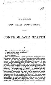 From the Sentinel. To the Congress of the Confederate States. Letters relating to finance