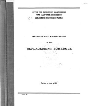 Instructions for Preparation of the Replacement Schedule