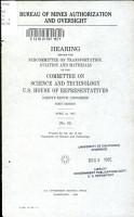 Bureau of Mines Authorization and Oversight PDF