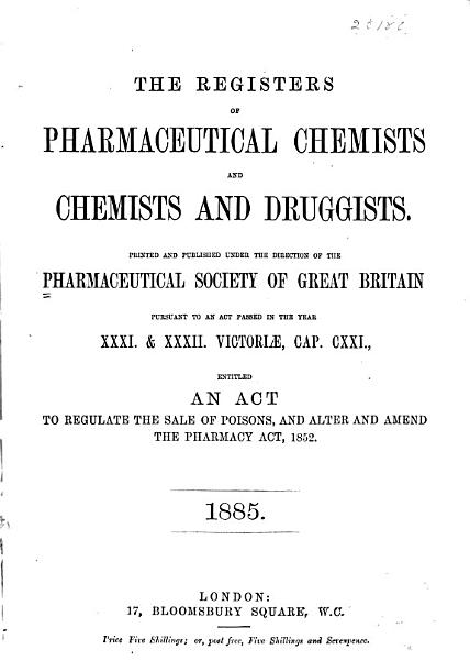 Download The Register of Pharmaceutical Chemists and Chemists and Druggists    Book
