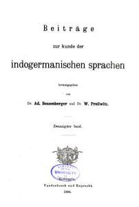 Beitr  ge zur Kunde der indogermanischen Sprachen PDF