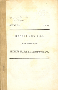 Report and Bill on the Petition of the Seekonk Branch Rail road Company