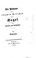 Die Posanne des jungsten Gerichts   ber Hegel den Atheisten und Antichristen  Ein Ultimatum   By B  Bauer   PDF