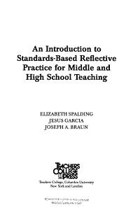 An Introduction to Standards Based Reflective Practice for Middle and High School Teaching PDF