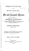 Proceedings of the Grand Lodge of the Most Ancient and Honorable Fraternity of Free and Accepted Masons of the Commonwealth of Massachusetts PDF
