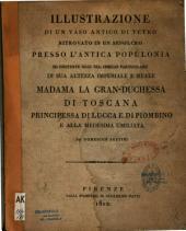 Illustrazione di un vaso antico di vetro ritrovato in un sepolcro, pressa l'antica Populonia, ed esistente oggi nel cimelio particolare di... Madama la granduchessa di Toscana,...