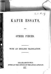 Kafir Essays And Other Pieces With An Engl Tr Chiefly By W Greenstock  Book PDF