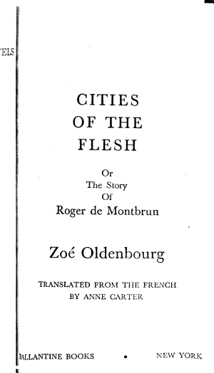 Cities of the Flesh  Or  The Story of Roger de Montbrun