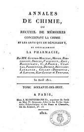 Annales de chimie, ou recueil des mémoires concernant la chimie et les arts qui en dépendent