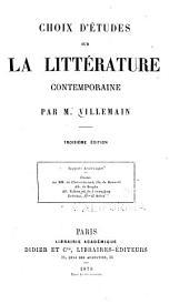 Choix d'études sur la littérature contemporaine