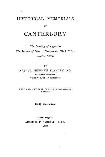 Historical Memorials of Canterbury PDF
