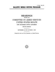 Ballistic Missile Defense Programs Book PDF