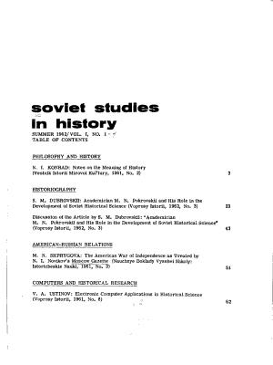 Soviet Studies in History PDF