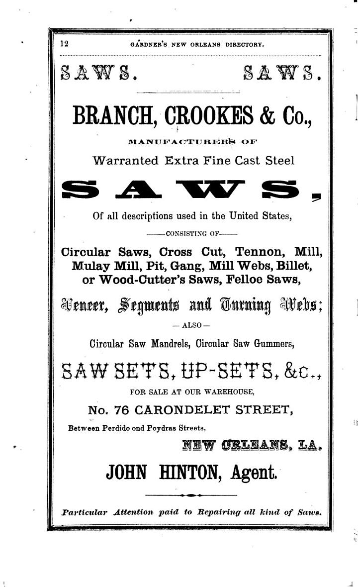 Gardner's New Orleans Directory for 1866- Including Jefferson City, Gretna, Carrollton, Algiers and McDonogh