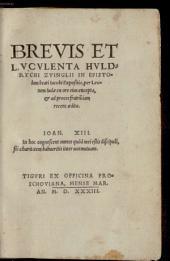 Brevis et luculenta Huldrychi Zvinglii in epistolam beati Iacobi expositio