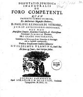 Disputatio juridica inauguralis de foro competenti