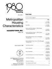 1980 census of housing: Metropolitan housing characteristics. Hagerstown, Md
