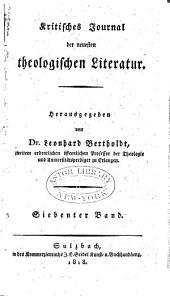 Kritisches Journal der neuesten theologischen Literatur: Band 7