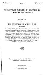 World Trade Barriers in Relation to American Agriculture PDF
