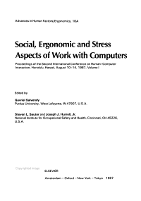Social Ergonomic and Stress Aspects of Work with Computers PDF