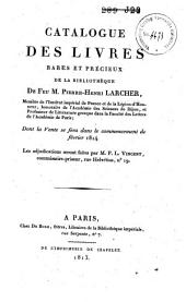 Veilingcatalogus, boeken Pierre-Henri Larcher, februari 1814
