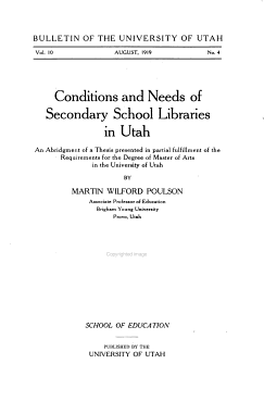 Conditions and Needs of Secondary School Libraries in Utah PDF