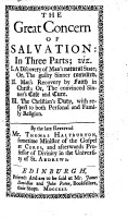 The Great Concern of Salvation  Etc   With    A Word of Recommendation    by I  Watts   PDF