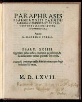 Paraphrasis Psalmi LXXIII. Carmine Elegiaco Reddita Et Ad Praesentem Ecclesiae Statum Accommodata