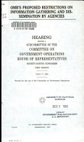 OMB s Proposed Restrictions on Information Gathering and Dissemination by Agencies PDF
