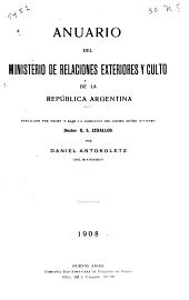 Anuario del Ministerio de relaciones exteriores y culto...