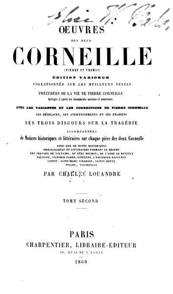 Download Oeuvres Des Deux Corneille  Pierre Et Thomas  Book