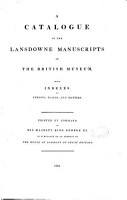 Catalogue of the Lansdowne Manuscripts in the British Museum    PDF