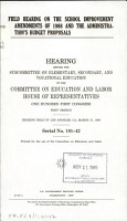 Field Hearing on the School Improvement Amendments of 1988 and the Administration s Budget Proposals PDF