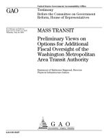 Mass transit preliminary views on options for additional fiscal oversight of the Washington Metropolitan Area Transit Authority   testimony before the Committee on Government Reform  House of Representatives PDF