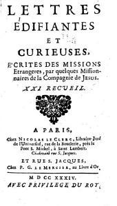 Lettres edifiantes et curieuses: ecrite des missions etrangères, Volume21