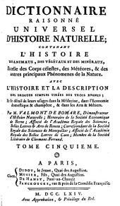 Dictionnaire raisonné universel d'histoire naturelle: Volume5