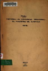 Memoria que presenta al congreso ordinario de 1878 el Ministro de Justicia, Instruccion, Culto y Beneficencia: sobre los diversos ramos de su despacho