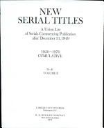New serial titles   Mehrjahresausgabe     New serial titles   NST  a union list of serials commencing publication after December 31  1949   Mehrjahresausgabe   2  D   K PDF