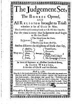 The Judgement Set, and the Bookes Opened