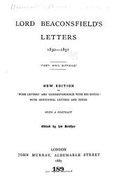 Lord Beaconsfield's Letters, 1830-1852