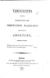 Thoughts On The Propriety Of Preventing Marriages Founded On Adultery Book PDF