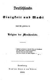 Deutschlands Einigkeit und Macht muss sich gründen in Religion der Menschenliebe