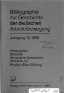 Bibliographie zur Geschichte der deutschen Arbeiterbewegung PDF