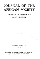 Journal of the African Society: Volume 11