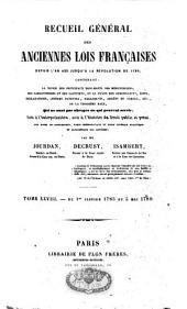 Recueil général des anciennes lois françaises: depuis l'an 420 jusqu'à la Révolution de 1789, Volume28