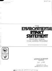 Final Environmental Impact Statement Proposed Federal Coal Leasing Program Book PDF