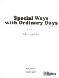 Special Ways With Ordinary Days Book PDF