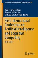 First International Conference on Artificial Intelligence and Cognitive Computing PDF