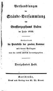 Verhandlungen der Stände-Versammlung des Großherzogtums Baden: vom Landtage .... 1833,13/15