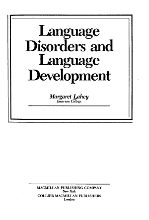 Language Disorders and Language Development PDF